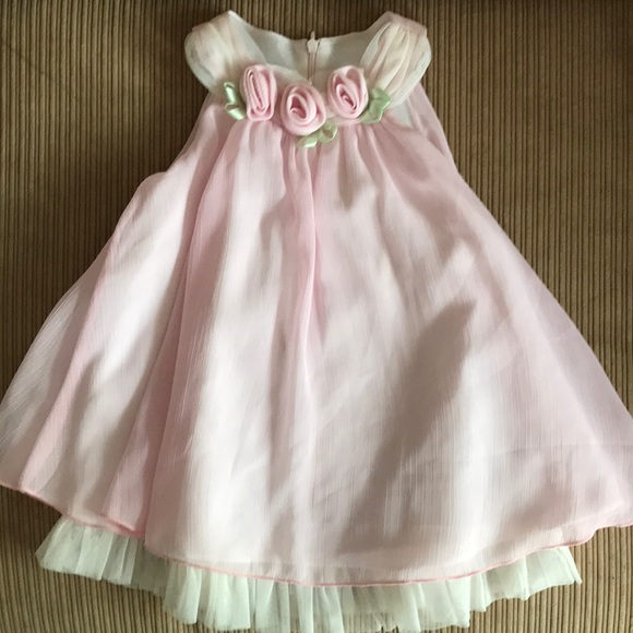 Bonnie Baby Dresses Pink Formal Dress Pink Fabric Roses Poshmark